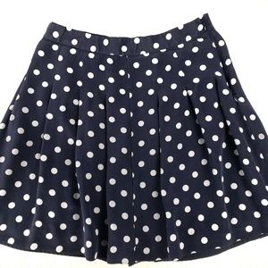 J.Crew navy pleated silk polka dots skirt sz 2